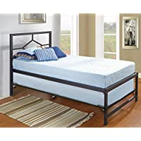 Kings Brand Furniture Black Metal Twin Size Daybed Frame With Trundle