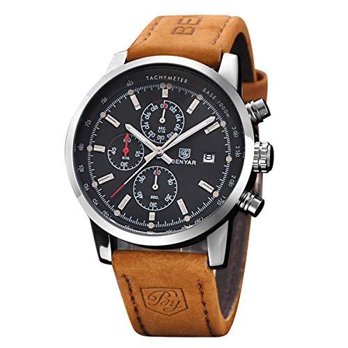 (BENYAR Fashion Men's Quartz Chronograph Waterproof Watches Business Casual Sport Design Brown Leather Band Strap Wrist Watch (Silver Back) )