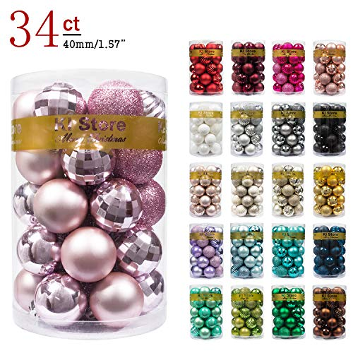 KI Store 34ct Christmas Ball Ornaments Shatterproof Christmas Decorations Tree Balls Small for Holiday Wedding Party Decoration, Tree Ornaments Hooks Included 1.57 (40mm Pink)
