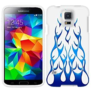 Samsung Galaxy S5 Blue Flames on White Phone Case