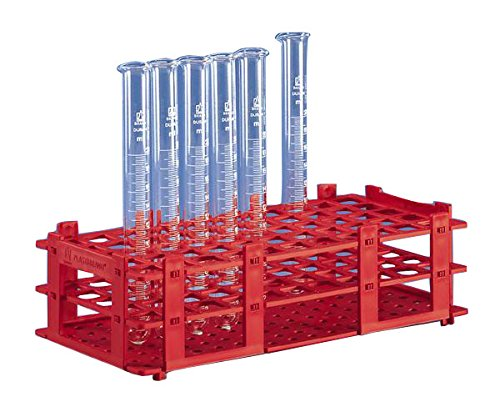 Test tube rack, PP, white, 265x126x75 mm f. 40 tubes to dia. 20 mm BRAND 4340020