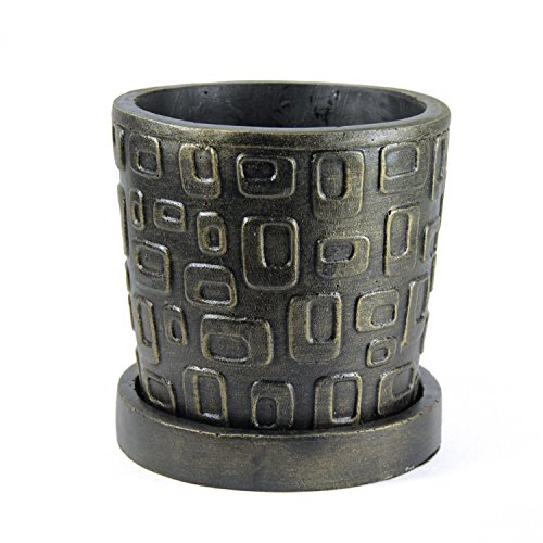 (Fiona's Garden Decorative Planter (Artisan Embossed) Modern Indoor and Outdoor Pot for Plants, Flowers, Herbs, Succulents | Contemporary Home Décor | Small, Compact)