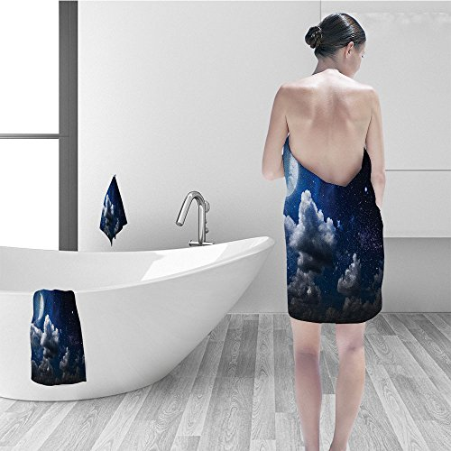 (Nalahomeqq Bath towel set Apartment Decor Celestial Solar Night Scene Stars Moon And Clouds Heaven Place In Cosmos Theme Bathroom Accessories Dark Blue White)