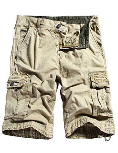 WenVen Men's Active Cargo Shorts Cotton Outdoor Wear Lightweight (WV3229 Light Khaki,34)