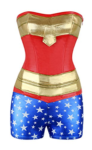 [Kimring Women's Super Heroine Hottie Valentines Day Halloween Costume Red X-Large] (Corsets For Halloween Costumes)