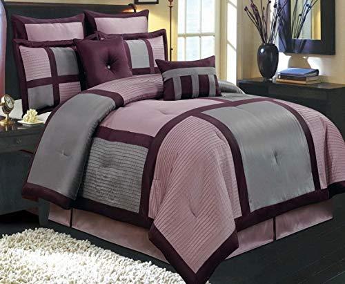 8pc modern grey purple bedding comforter shams and pillow set cal king size bedroom store. Black Bedroom Furniture Sets. Home Design Ideas