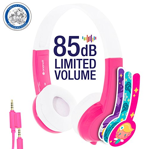 Kids Headphones by onanoff | Explore Series I Volume Limiting | Durable, Comfortable & Customizable | Built in Headphone Splitter & In Line Mic | Great for School| For iPad, Fire, All Tablets | Pink
