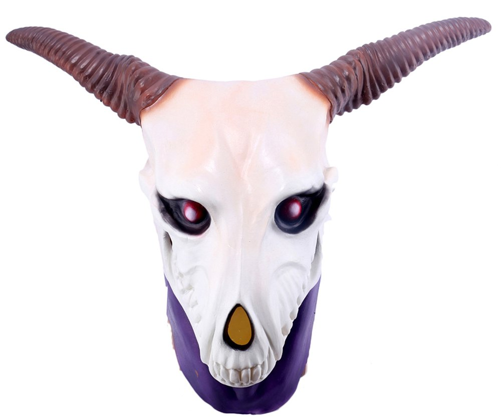 Anime Latex Elias Full Head Cosplay Mask Goat Horn Skull Costume Helmet