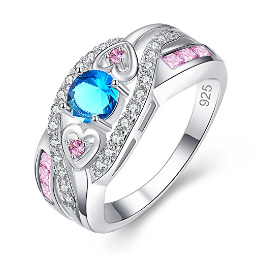 Blue Topaz Butterfly Ring - Veunora 925 Sterling Silver Created 5x5mm Blue and Pink Topaz Filled Twisted Ring Band for Women Size 8