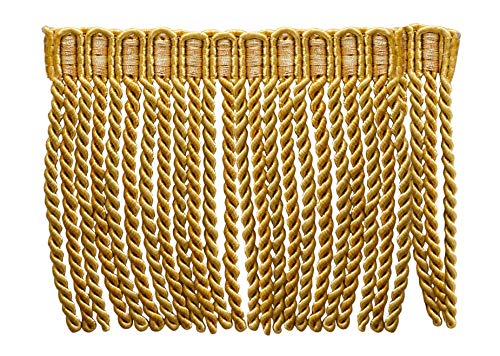 DÉCOPRO 5.4 Yard Value Pack of 6 Inch Long Bullion Fringe Trim, Style# DB6 - Medium and Light Gold - Golden Rays 4875 (16 Ft / 5 Meters)