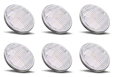 PAR36 LED 6 Watt Light Bulb Outdoor Garden Landscape Lighting Low Voltage 12V AC DC Multi-purpose Farm Industrial Waterproof IP65 Flood Lamp 6000k Pure White 12 Volt Under Pool Lights 6 Pack AR111 G53