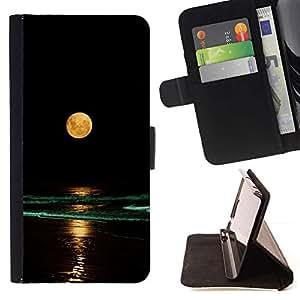 Momo Phone Case / Flip Funda de Cuero Case Cover - Completo Waves Yellow Moon Beach Nigh Mar Océano - HTC One M9
