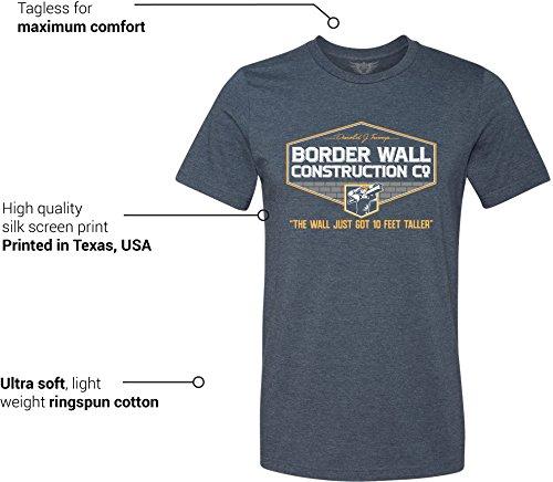 0889c63818f GunShowTees Men s Donald Trump Border Wall Construction Company T-Shirt  Heather Navy