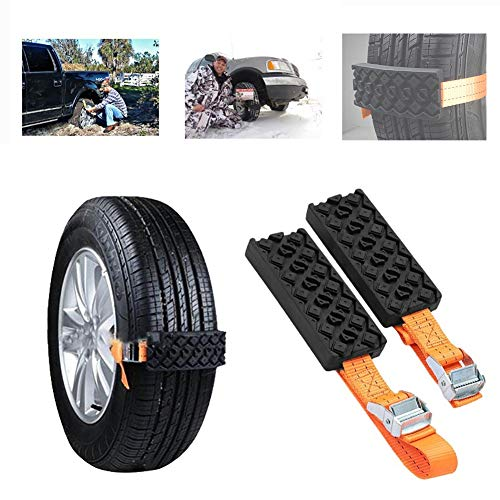Ai CAR FUN 2 PCS Anti-Slip Automobile Emergency Chains Anti-Slip Snow Chains for Tire Universal Rubber Nylon Car Chains for Car Truck & SUV on Snow Ice Sand Mud Road Automobile Rescue Equipment