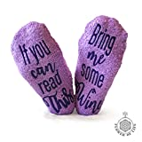 Gifts for Women - Birthday Gift for Her Mom - Funny Wine Socks - Purple with Cotton Bag and Anti-slip by FOLE INC