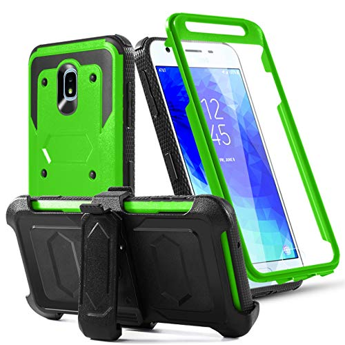 (Phone Case for Samsung Galaxy J7 2018/J7 Star/J7 Grown/J7 V 2nd Gen/J7 Refine/J7 Aura/J7 Prime/J7Aero Built-in[Screen Protector] with Belt Clip[Kickstand] Heavy Duty Full Body Protective Case,Green)