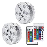 Submersible Lights Underwater 10-LED Reusable Light, RGB Multi Color Waterproof Remote Control Battery Powered Pool Lights for Fountain Pool, Wedding Pond (2 Pack)