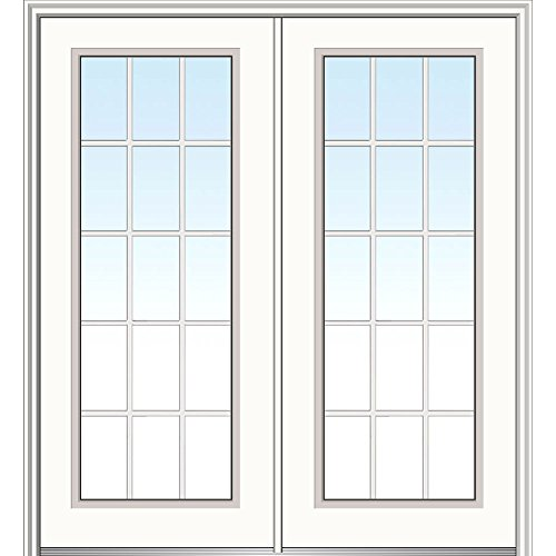 National Door Company Z029809L Fiberglass Smooth, Primed, Left Hand In-Swing, Exterior Prehung Door, Clear Glass Full Lite, (Exterior Glass French Doors)