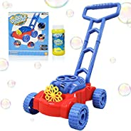 WhizBuilders Bubble Machine Lawn Mower for Toddlers and Kids Age 2-4 , Outdoor Giant Bubbles Wand Blower Maker