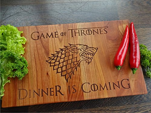 Dinner is Coming cherry cutting board. 9x15 inches. Wooden Chopping block. Birthday gift. Gift for him (Dinner Send)