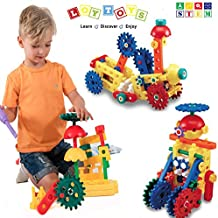 LoyToys 80 Pieces Educational Engineering Building Blocks & Gears Set for age 4-8, Boys & Girls. The Best STEM Toy- Promote Hand & Eye Coordination, Develop Imagination, Fine Motor Skills & Creativity
