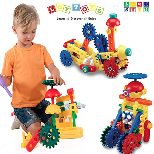 LoyToys Educational Engineering Building Blocks & Gears Set, 80 Piece for age 4-7 Boys & Girls. Best Gift, STEM Toy- Promote Hand & Eye Coordination, Fine Motor Skills & Creativity. Storage Bag Incl.
