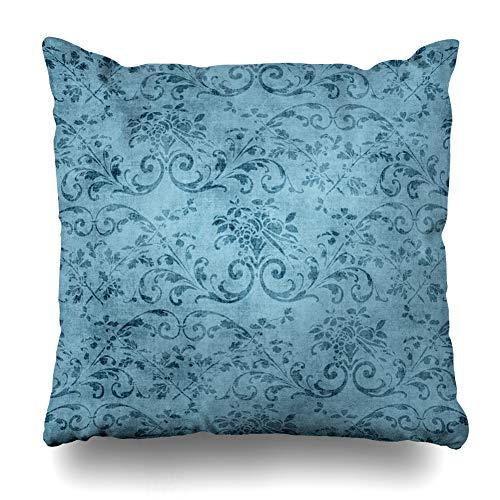 Jacobean Vine - Ahawoso Throw Pillow Cover Square 16x16 Inches Jacobean Vintage Blue Floral Pattern Abstract Pretty Vine Aged Flower Grungy Cushion Case Home Decor Pillowcase