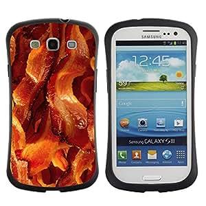 Suave TPU Caso Carcasa de Caucho Funda para Samsung Galaxy S3 I9300 / bacon pork meat crispy brown food / STRONG