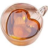 【morningplace】 ダブルウォール ハート グラス ショットグラス 二重構造 耐熱 カップ ギフト プレゼント に (240ml)