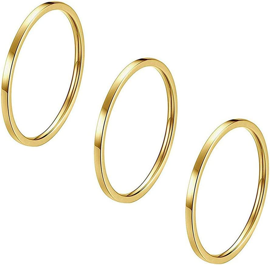 LJSLYJ Golden 3pcs 1mm Stainless Steel Plain Band Knuckle Stacking Midi Rings for Women Girls Comfort Fit Size 3