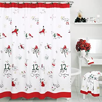 New Lenox Holiday Poinsettia Tartan Shower Curtain
