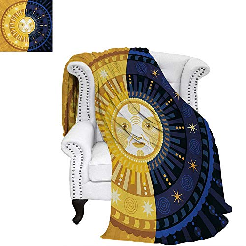 warmfamily Sun and Moon Summer Quilt Comforter Solstice Theme Transformation of The Day Ornament Spiritual Boho Art Design Digital Printing Blanket 60