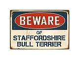 "Beware Of Staffordshire Bull Terrier 8"" x 12"" Vintage Aluminum Retro Metal Sign VS404"