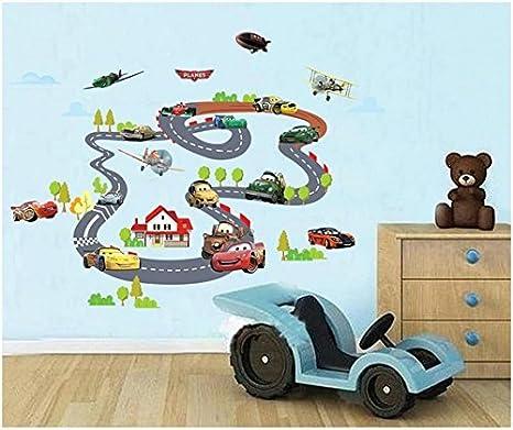 Rayo McQueen Carros llanuras XXL Pegatinas de pared Guardería Niños Cuarto Pegatina de pared extraíble Mural Calcomanía Decoración Decoración de bebé: ...