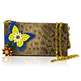 Marino Orlandi Italian Designer Cheetah Printed Leather Wallet Clutch w/Chain