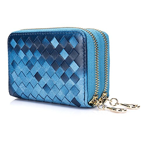 Esdrem RFID Blocking Card Holder Wallet Lambskin Leather Credit ID Card Security Travel Wallet Double Zipper Coin Purse for Women (Mixed Blue) ()