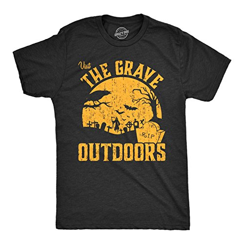 Mens Visit The Grave Outdoors Tshirt Funny Halloween Cemetary Tee for Guys (Heather Black) -