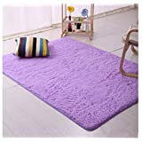 Genius_Baby Super Soft Modern Shag Area Rugs Living Room Carpet Bedroom Rug for Children Play Solid Home Decorator Floor Rug and Carpets (purple)