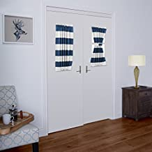 """TURQUOIZE Blackout French Door/ Patio Door Panels, Rod pocket curtains, 1 Piece, 25"""" W x 40"""" L, Dutch Blue and White Stripes"""