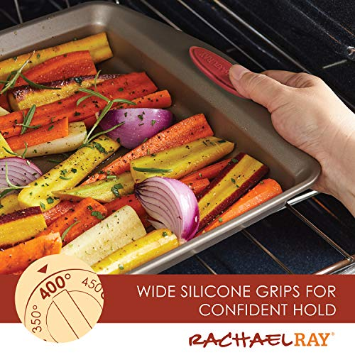 Rachael Ray Cucina Nonstick Bakeware Set Baking Cookie Sheets Cake Muffin Bread Pan, 10 Piece, Latte Brown with…
