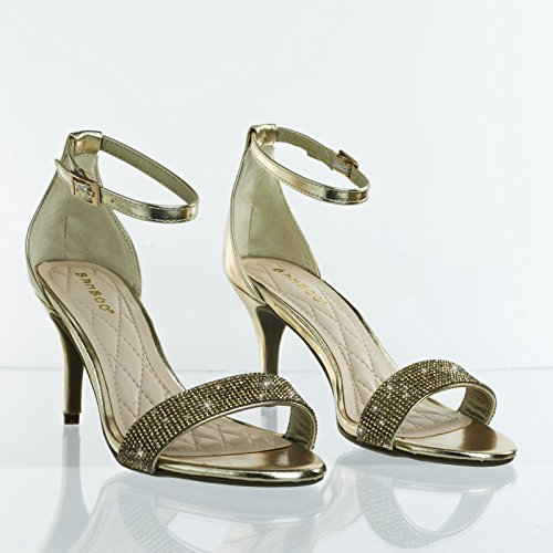 Bamboo Rhinestone Crystal Encrusted Mid Heel Dress Sandal Gold 5UzopaP9w