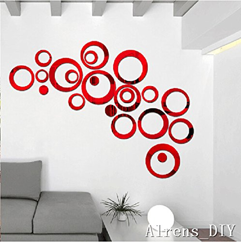 Alrens_DIY(TM) 22pcs Rounds Dots Circles Mirror Surface Crystal Wall Stickers DIY Acrylic 3D Home Decal Living Room Murals Wall Paper Decor adesivo de parede-4 Colors (Red)