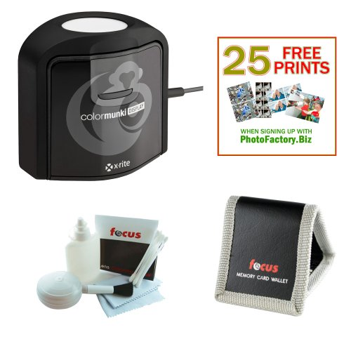Xrite CMUNDIS Colormunki Display Calibration + Deluxe Cleaning and Care Kit + Memory Card Wallet + 25 Free Quality Photo Prints