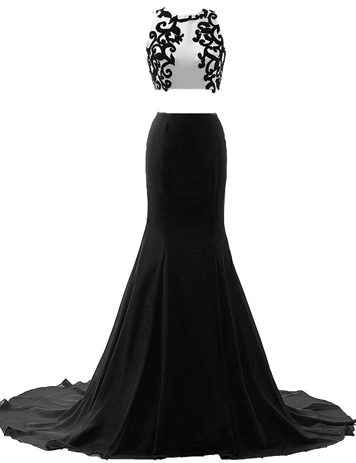 JAEDEN Appliqued Two Piece Evening Dresses Long Sexy Mermaid Prom Party Gown
