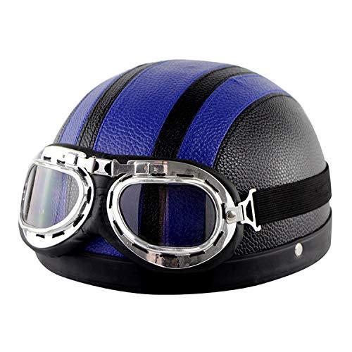PinkDreamland Open Motorcycle Helmet, Retro Half Helmet Cruiser Scooter Scooter DOT Approved for Men and Women (8 Colors/Gift ()