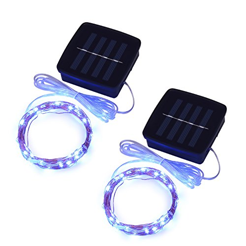 Magicnight Solar Mini Teeny Tiny Lights,Starry String Light for Garden Fairy,Tree,Railing,Arbor,Fence,16 Feet 50LEDs,2 Pack,Blue ()