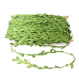 HONBAY 132 Feet Green Leaves Ribbon Artificial Vines Garland Simulation Foliage Rattan for DIY Craft, Garland, Headband, Wedding, Party, Garden and Home Wall Decor 56
