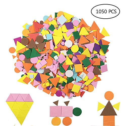 LEAFBABY 1050 Pieces Assorted Colors Foam Geometry Stickers Mini Self-Adhesive Geometry Shapes Foam Stickers for Children DIY Arts and Crafts ()