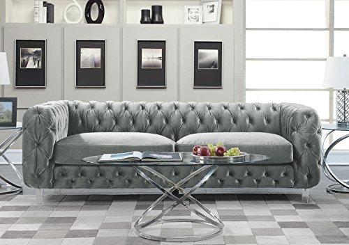Iconic Home FSA2655-AN Modern Contemporary Tufted Velvet Down-Mix Cushons Acrylic Leg Sofa, Grey