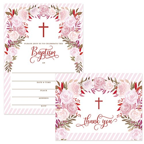 Set Baby Baptism Invitations with Matched Thank You Notes (25 of Each) Envelopes Included, 5 x 7